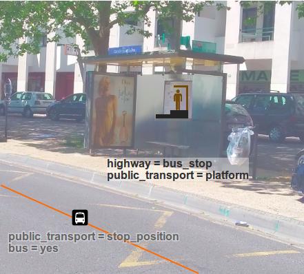 image d'arrêt de bus avec les tags qui vont bien