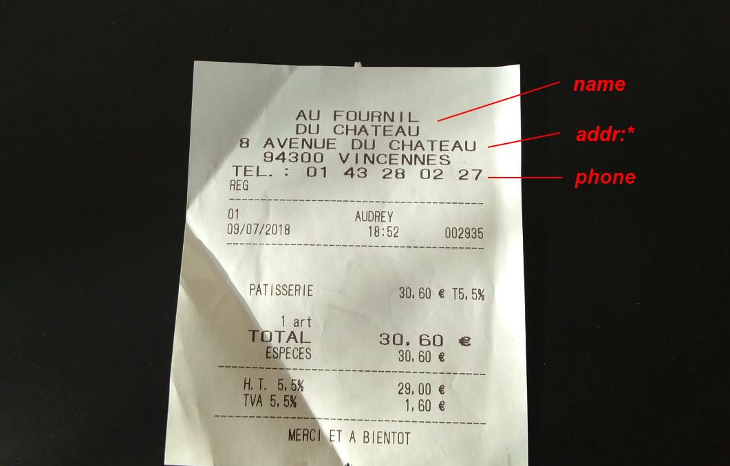 ticket de boulangerie annoté