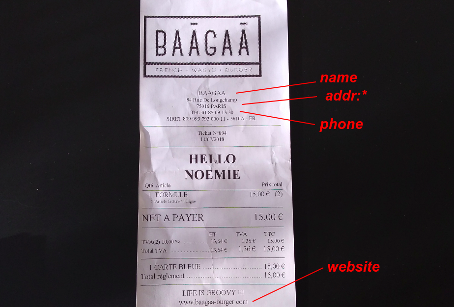 ticket de restaurant annoté