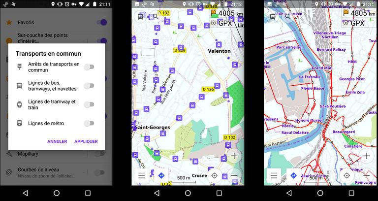 activer des couches pour visualiser les bus dans l'appli
